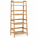 4-Tier Bamboo Ladder Shelf-Natural - Color: Natural