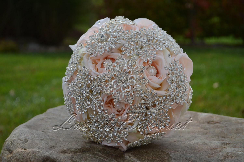 Rose Silver Brooch Bouquet - Wedding Brooch Bouquet, Bridal Bouquet. Light Pink Bouquet, Crystal Rhinestone, Silk Rose Bouquet. SR-PKPK-01