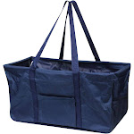 Zodaca Large Utility Collapsible Wireframe Shopping Bag Shoulder Tote Carry Bag for Camping Travel Laundry - Solid Navy