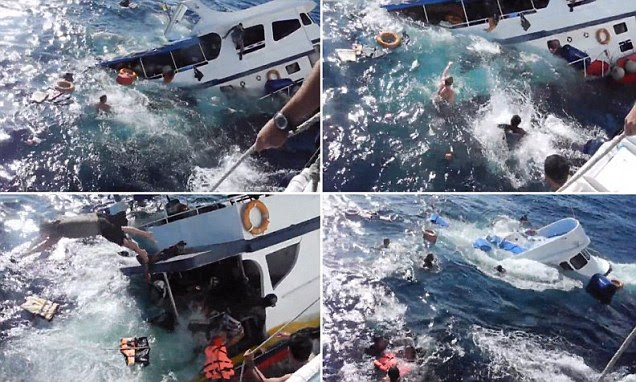 Dramatic footage of a boat sinking in just minutes off the coast of Thailand as passengers hurl themselves overboard