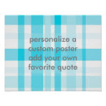 blue plaid add your own quote custom poster