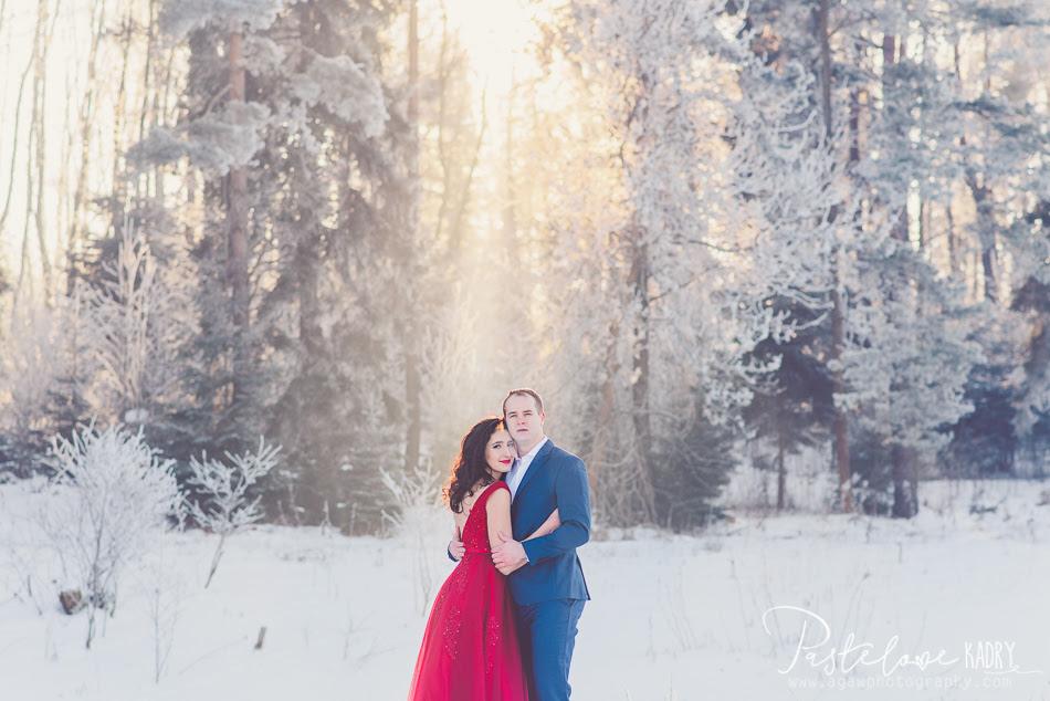 mroźna sesja ślubna