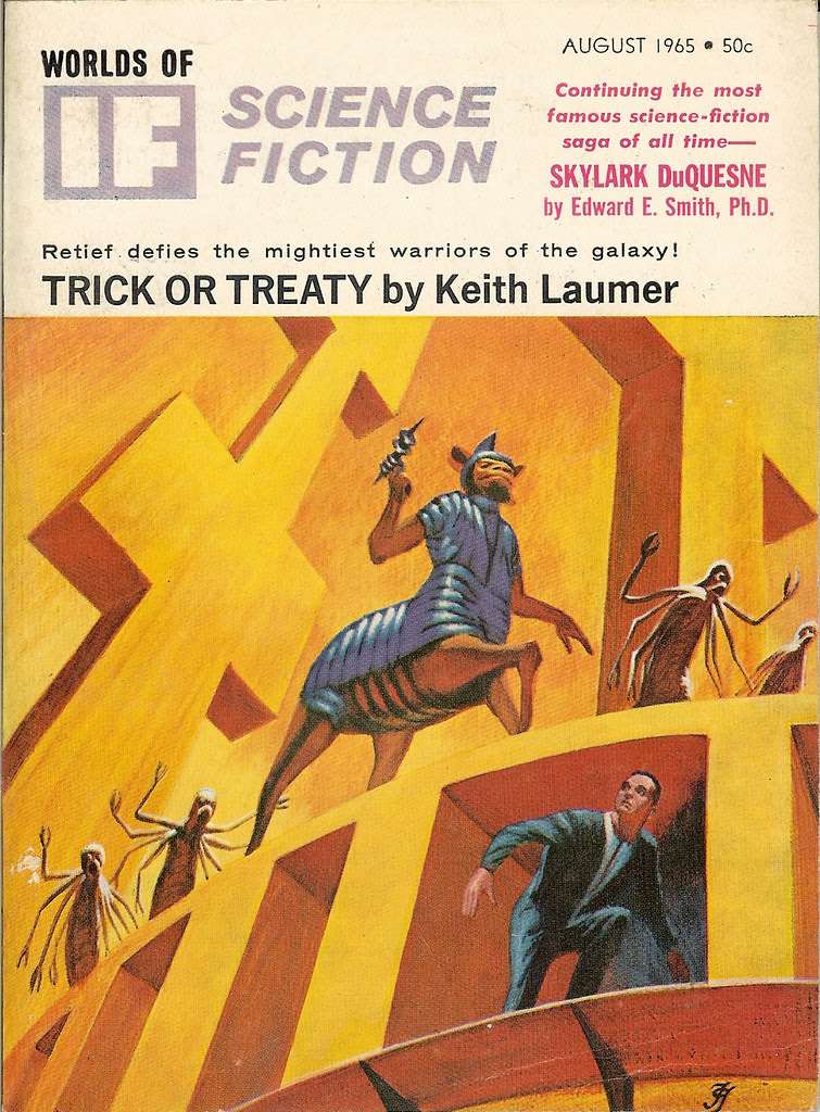 Jack Gaughan cover art - IF, Worlds Of Science Fiction, Aug, 1965