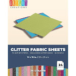 24 Count Glitter Fabric Sheets, 10 x 10 inches Single-Sided Shiny Metallic Faux PU Leather for DIY Crafts and Arts, Sewing Projects, Decorations, Hair