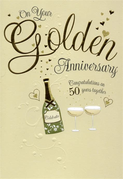 On Your Golden 50th Anniversary Greeting Card   Cards