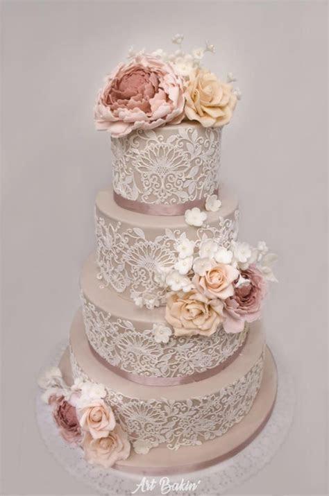 Dusty Rose Lace Cake   Cake Decor   Wedding cakes, Wedding