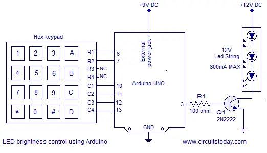 brightness control of led using arduino