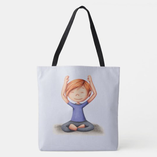 Girl doing yoga medium tote bag