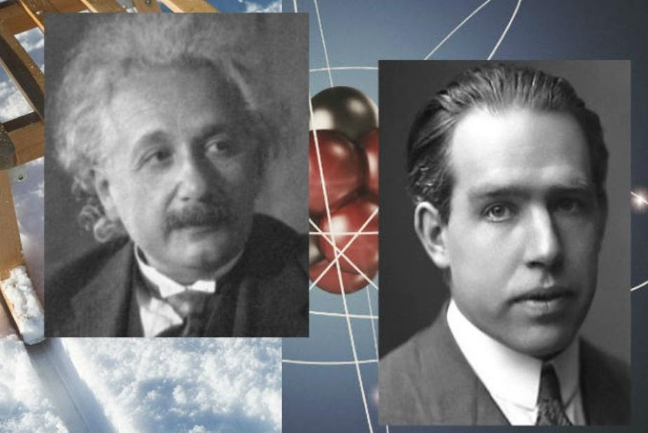 Neils Bohr, ca. 1922 (R) and Albert Einstein.