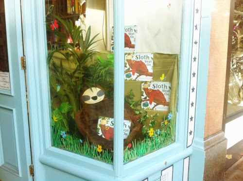 Mr Sloth has found it to the window in Tales on Moon Lane bookshop in Herne Hill. Cosy.