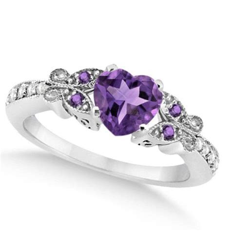 Butterfly Amethyst & Diamond Heart Engagement Ring 14K W