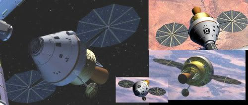 Computer renditions of the ORION Crew Exploration Vehicle.