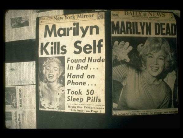 Front pages of August 6, 1962, headlining Marilyn Monroe's suicide.
