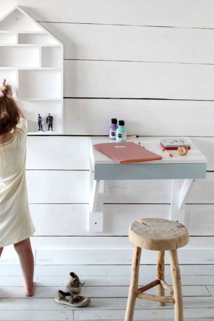 little desk with wood stool