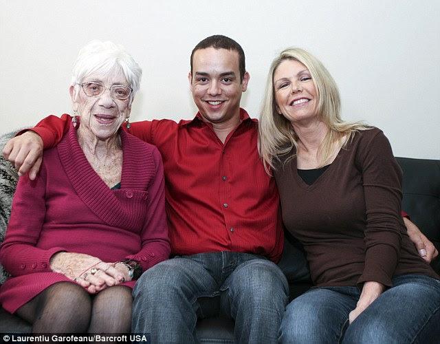 Kyle, who says says that he always been attracted to older women, has even taken girlfriend Marjorie McCool, 91 (L) home to meet his mother Ceceila Jones (R)