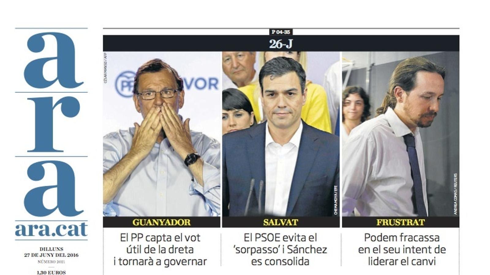 """""""Espanya reforça Rajoy"""", portada de l'ARA"""
