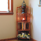 Lavish Home 4 Tier Wood Folding Corner Display Shelf