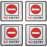 No Entry Signs - 4-Pack Metal No Trespass Signs, Aluminum Private Property Signs, Self-Adhesive, Ideal for Office, Retail, Restaurants, Indoors and
