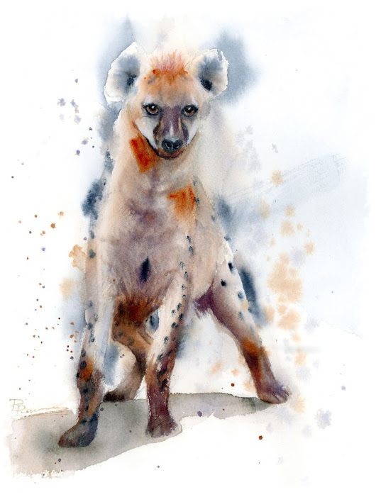 Hyena (2018) Watercolor by Olga Shefranov