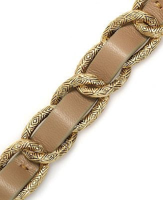 House of Harlow Bracelet, Gold-Tone Khaki Leather Link Bracelet - Fashion Jewelry - Jewelry & Watches - Macy's