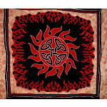 """Firery Celtic Heavy Cotton Bedspread 108"""" x 84"""" Full-Queen Red"""