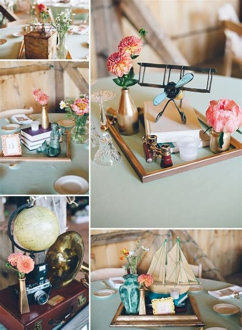 thrift store, travel themed wedding centerpieces   Abby