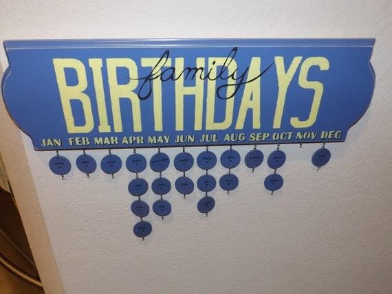 Custom made Family Birthday Calendar.