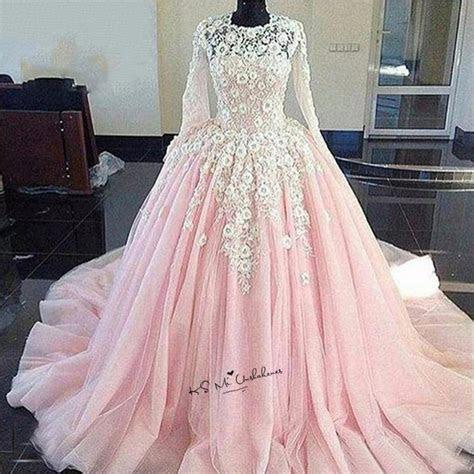 princess white lace flowers pink wedding dress boho puffy