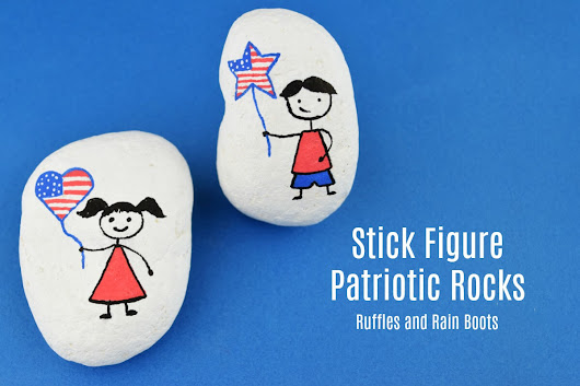 Patriotic Stick Figure Rock Painting for Independence Day - Ruffles and Rain Boots
