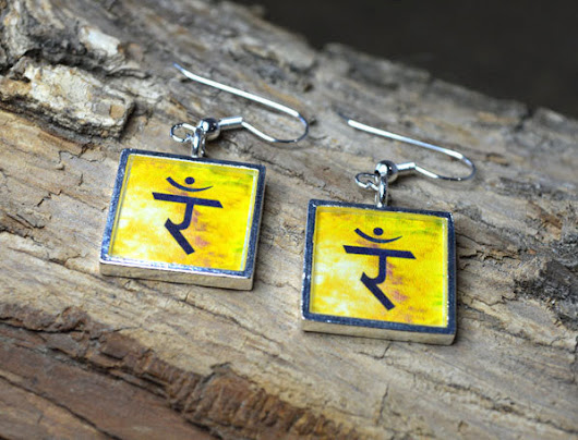 SOLAR PLEXUS 3rd Chakra Dangle Earrings - Handmade Silver-Plated Yello – Chakramoon Arts & Design