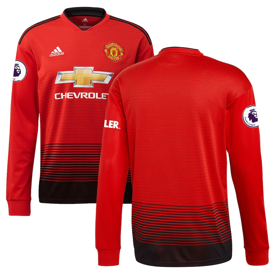 Men's adidas Red Manchester United 2018/19 Home Replica Patch Long Sleeve Jersey