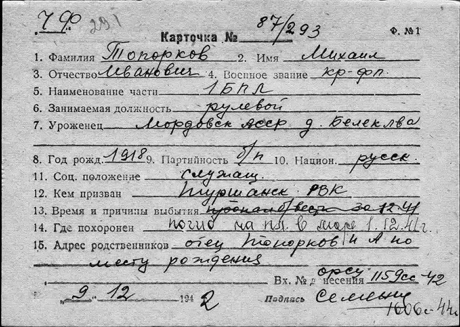 Карточка Топорков Михаил Иванович рулевой Щ-211
