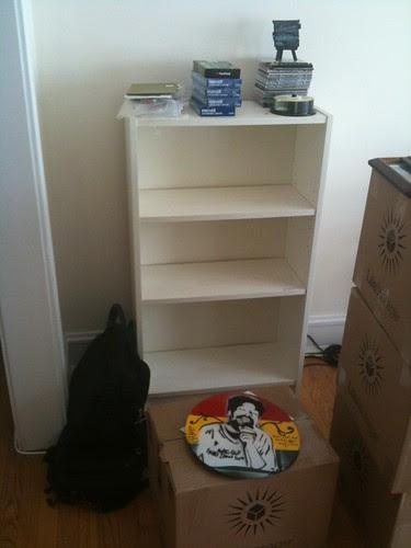 Empty bookshelves, and artwork