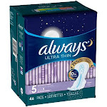 Always Ultra Thin Extra Heavy Overnight Pads - Size 5 - 46ct
