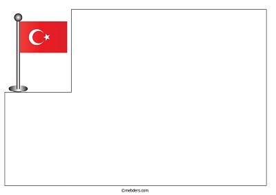 üst Köşede Direkli Türk Bayrağı Ile Resim Kağıdı şablonu Meb Ders