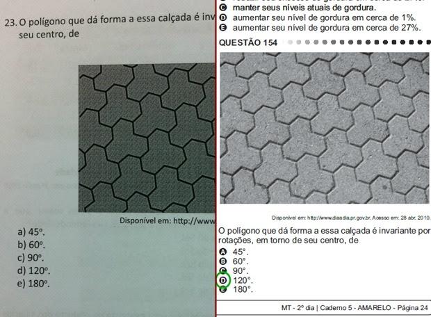 Questão 23 do livreto ''Matemática e suas Tecnologias'' é idêntica a 154, do carderno Amarelo da prova de matemática do Enem (Foto: Elias Bruno/ G1 CE)