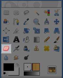 Icona della gomma nella barra degli strumenti.