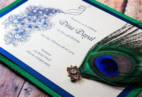 Peacock Indian wedding invitation   Fluid peacock design