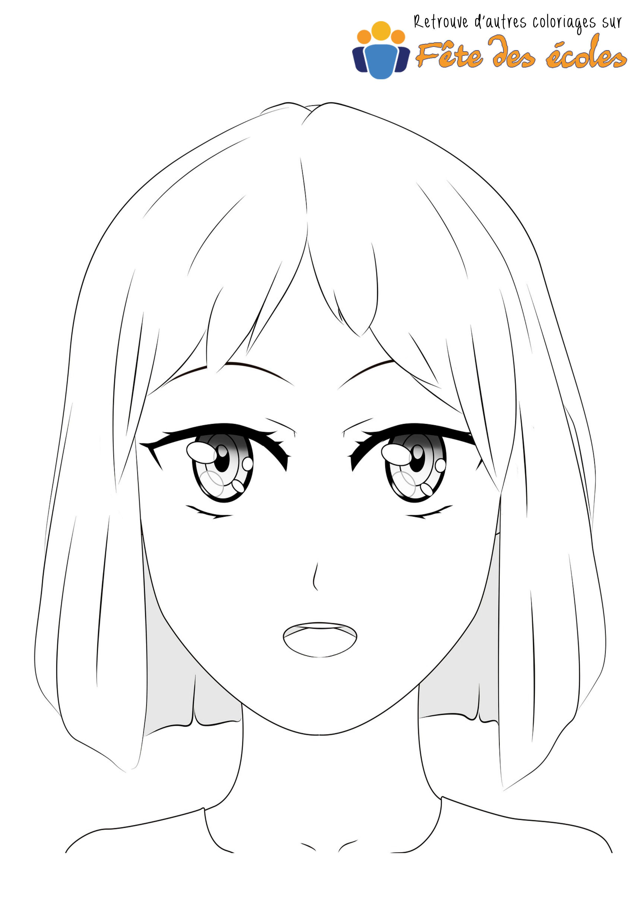 Coloriage Visage Fille De Manga