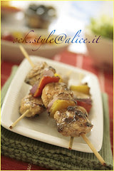 Meat - Grilled Chicken Kebabs [on green tablec...