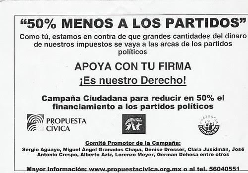 campaña por el 50 por ciento menos a partidos