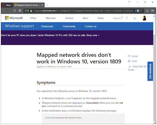 Mapped Network Drives issue in Windows 10 version 1809 - gHacks Tech News