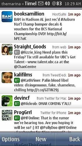 Gravity Twitter Client on Nokia N8