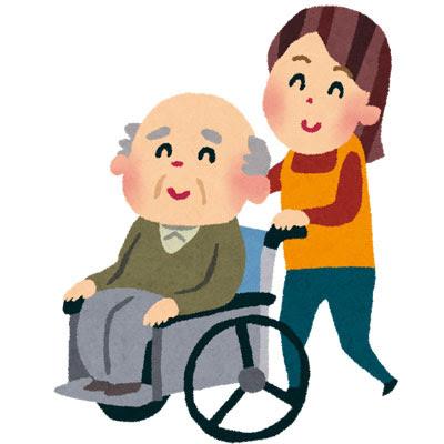 フリー素材 介護士さんに車椅子を押してもらっているおじいさんのイラスト