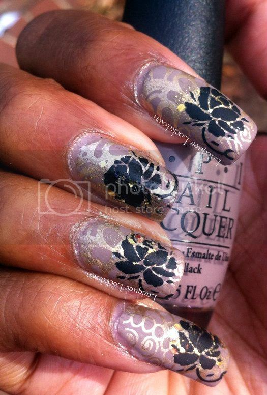 Lacquer Lockdown - OPI Berlin There Done That, Lynnderella Change, Dashica, XL SdP 3, Konad, stamping, Essie Matte About You, Adventures in Stamping, wallpaper nail art, wallpaper manicure, nail art, layerings, China Glaze Passion, nude manicures, simple nail art, elegant nail art, pretty nail art, wallpaper,
