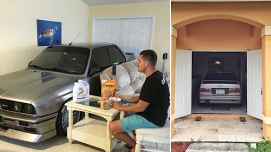 Car enthusiast parks BMW in living room during Hurricane Matthew