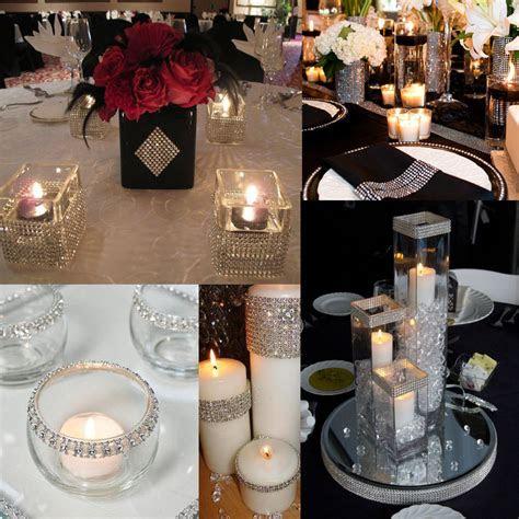 diy silver diamond mesh rhinestone wraps ribbon wedding