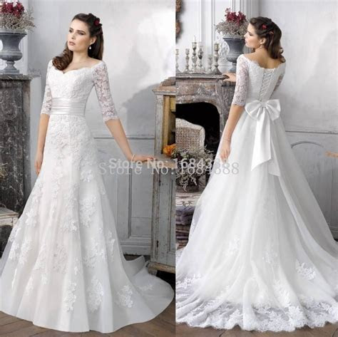 Hot Sale Simple A Line Half Sleeve Bridal Gowns Sweep