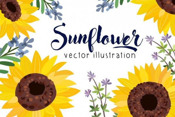 Bunga Matahari Latar Belakang Warna Warni Handdrawn Dekorasi