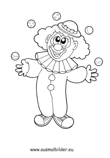 ausmalbild lustiger clown  ausmalbilder